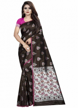 Coffee Brown and Rose Pink Art Silk Designer Traditional Saree