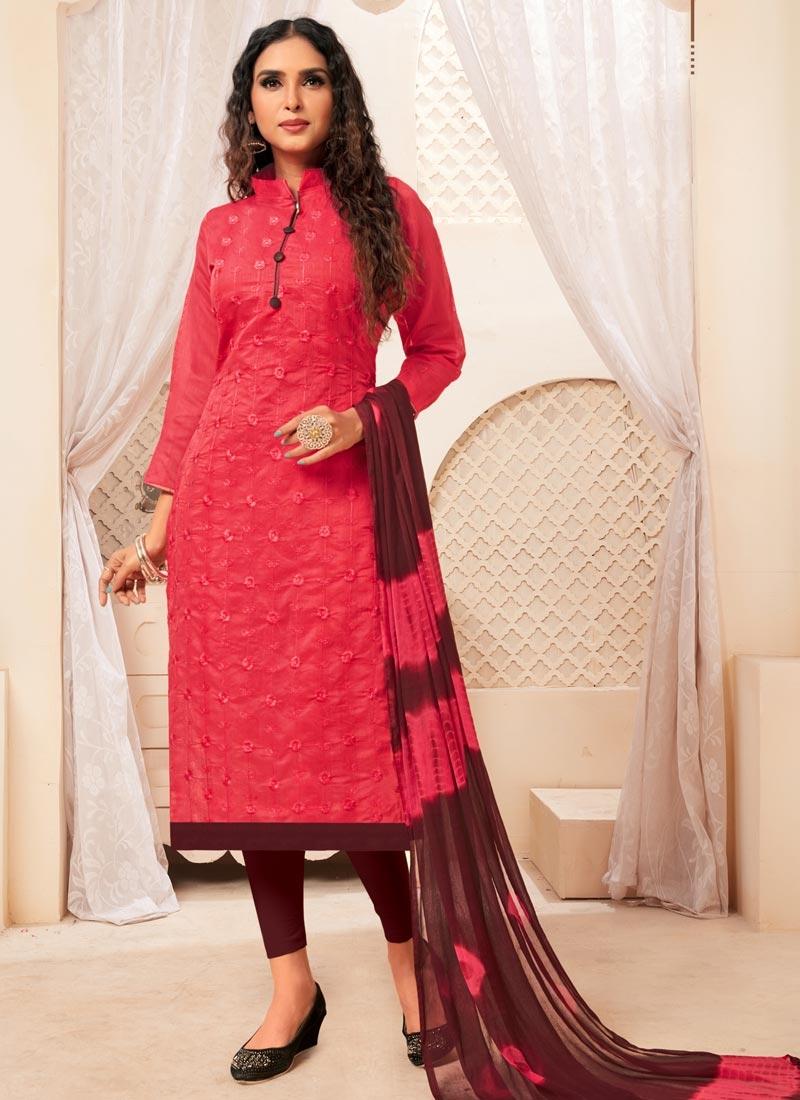 Coffee Brown and Rose Pink Trendy Straight Salwar Kameez