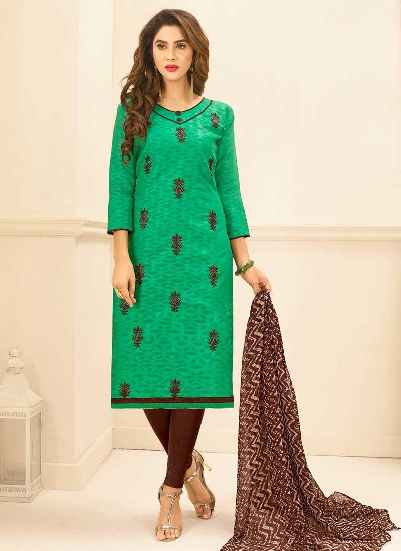 Coffee Brown and Sea Green Trendy Churidar Salwar Suit