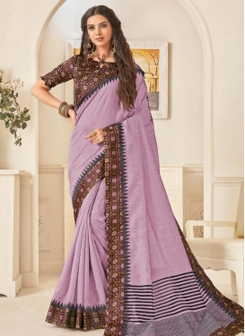 Coffee Brown and Violet Digital Print Work Designer Traditional Saree
