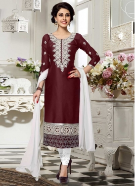 Coffee Brown and White Churidar Salwar Kameez