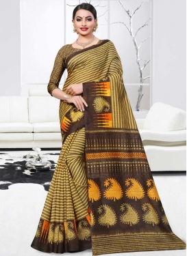 Coffee Brown and Yellow Designer Contemporary Style Saree