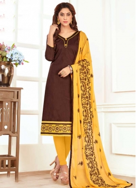 Coffee Brown and Yellow Trendy Churidar Suit For Casual