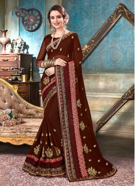 Coffee Brown Ceremonial Faux Georgette Classic Designer Saree