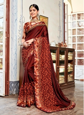 Coffee Brown Satin Georgette Patch Border Classic Saree