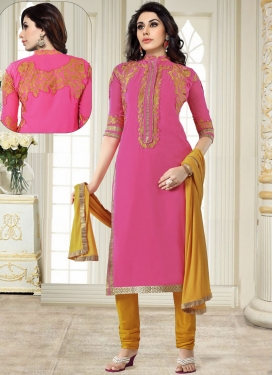 Compelling Embroidered Faux Georgette Pink Churidar Salwar Suit
