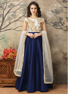 Compelling Embroidered Work Long Length Anarkali Salwar Suit