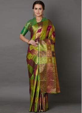 Compelling Multi Colour Mehndi Traditional Saree