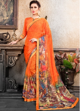Competent Abstract Print Multi Colour Faux Chiffon Printed Saree