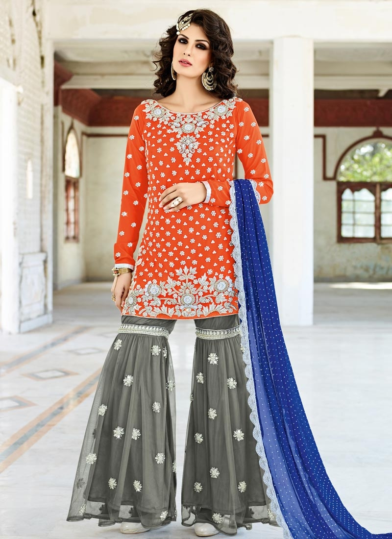Competent Beads Work Grey and Orange Net Designer Salwar Kameez