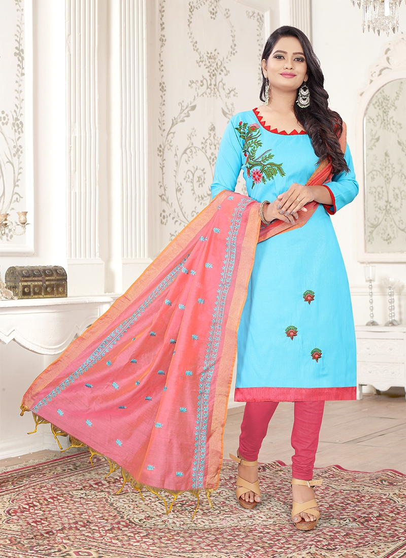 Competent Embroidered Churidar Suit