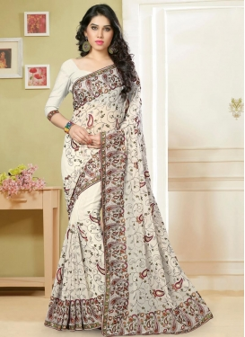 Competent Embroidered Work Faux Georgette Traditional Saree For Ceremonial