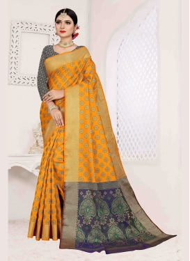 Competent Mustard Weaving Art Silk Traditional Saree