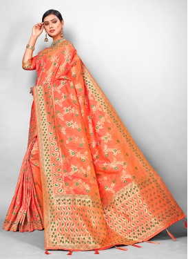 Competent Orange Traditional Designer Saree