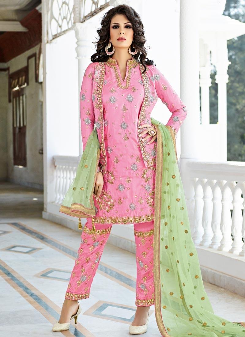 Conspicuous Beads Work Jacket Style Salwar Kameez