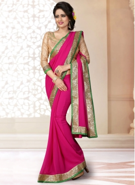 Conspicuous Lace Work Faux Georgette Casual Saree