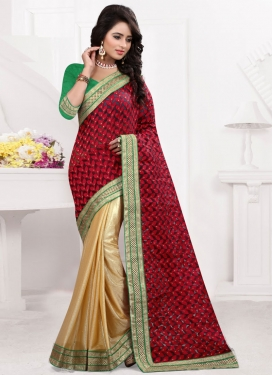 Conspicuous Lycra Lace Work Half N Half Party Wear Saree
