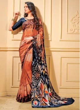 Conspicuous Printed Multi Colour Trendy Saree