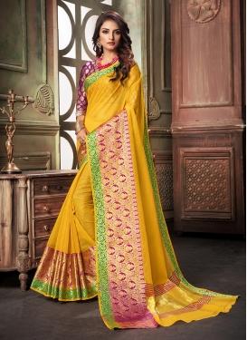 Conspicuous Weaving Cotton Silk Designer Saree