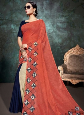 Coral and Cream Linen Half N Half Trendy Saree