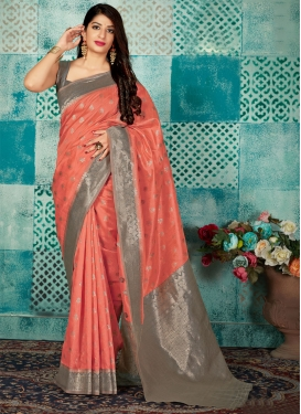 Coral and Grey Thread Work Designer Contemporary Style Saree