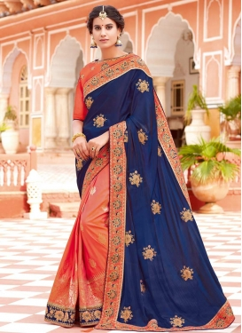 Coral and Navy Blue Art Silk Half N Half Saree For Festival