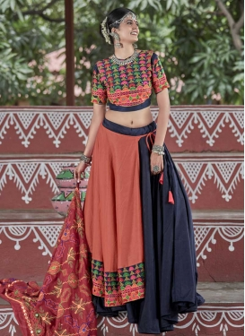 Coral and Navy Blue Cotton Satin Designer Lehenga Choli