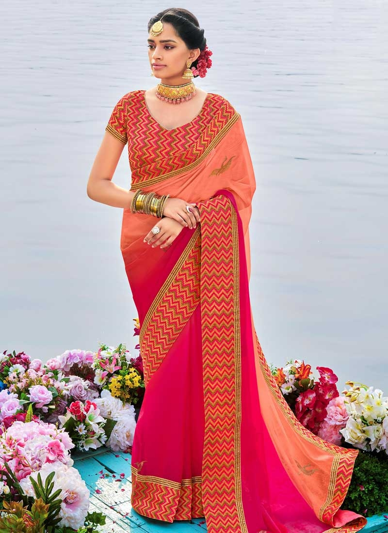 Coral and Rose Pink Embroidered Work Contemporary Style Saree