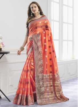 Coral and Salmon Trendy Classic Saree For Casual