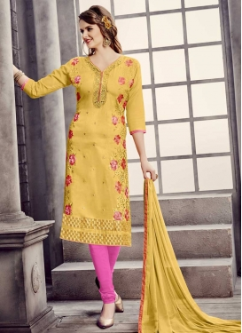 Cotton Aari Work Trendy Churidar Salwar Kameez