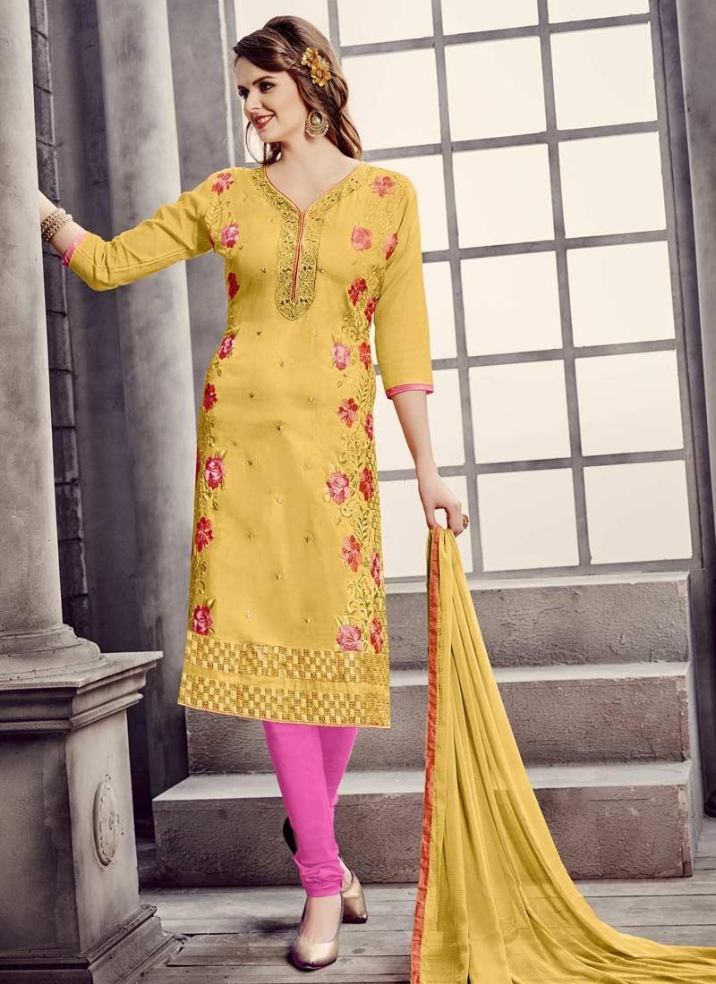 Cotton Aari Work Trendy Churidar Salwar Kameez