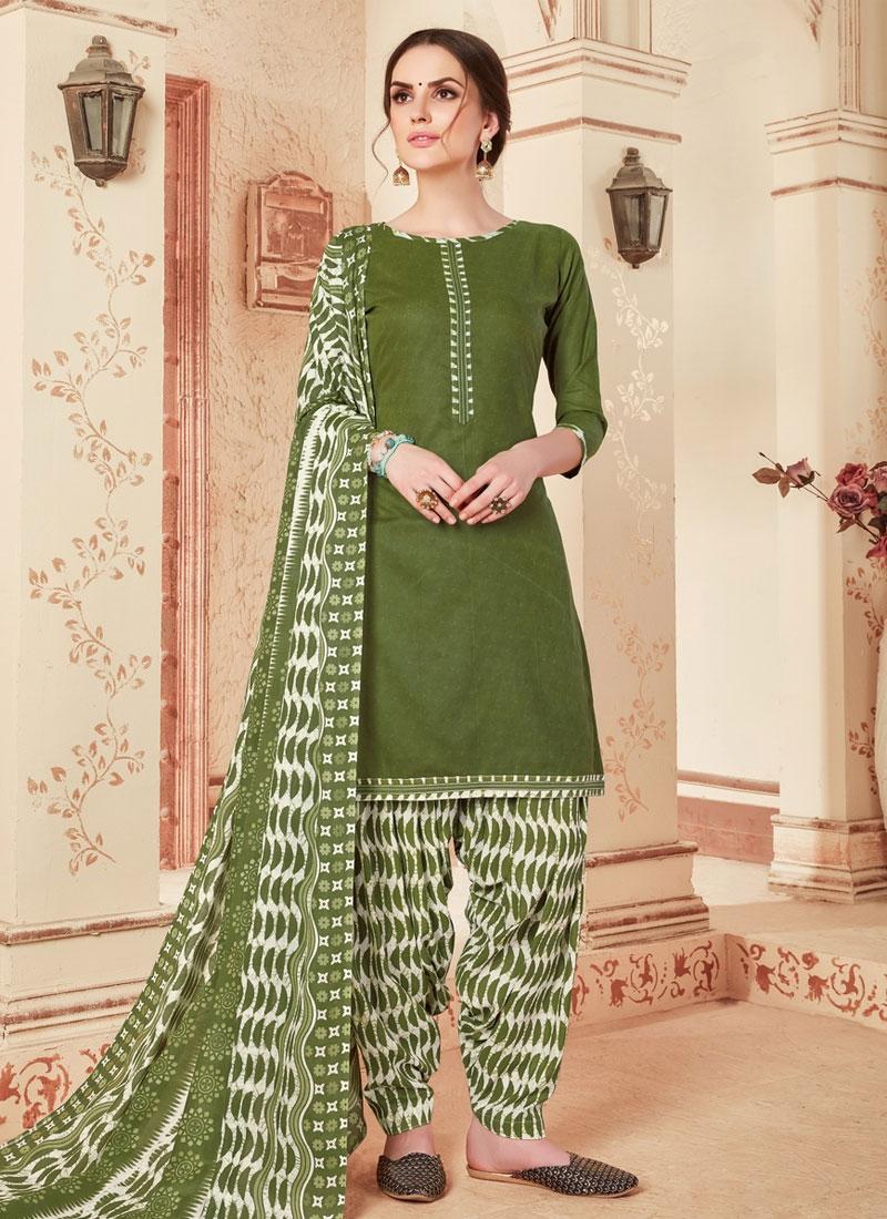 Cotton Abstract Print Work Designer Patiala Salwar Suit