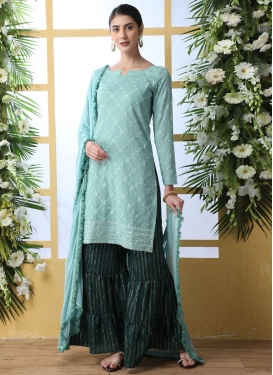Cotton Aqua Blue and Bottle Green Sharara Salwar Kameez