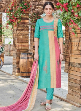 Cotton Aqua Blue and Pink Embroidered Work Readymade Long Length Suit