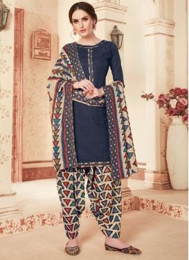 Cotton Beige and Navy Blue Designer Semi Patiala Salwar Suit