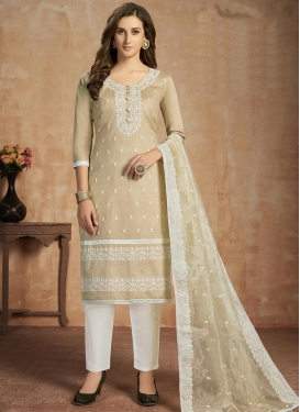 Cotton Beige and White Embroidered Work Pant Style Classic Suit