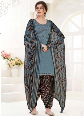 Cotton Black and Grey Punjabi Salwar Suit