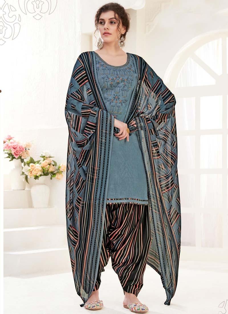 Cotton Black and Grey Punjabi Salwar Suit