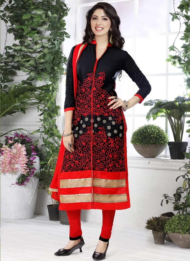 Cotton Black and Red Embroidered Work Trendy Churidar Salwar Kameez