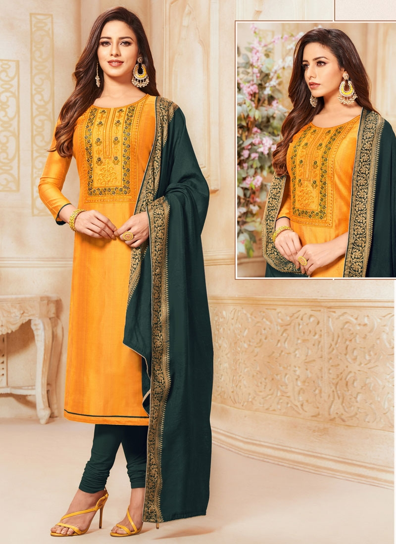 Cotton Bottle Green and Orange Churidar Salwar Kameez