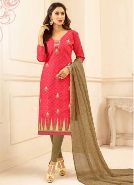 Cotton Brown and Rose Pink Trendy Straight Salwar Kameez