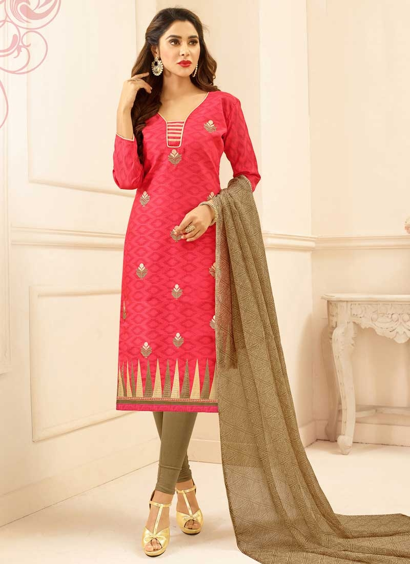 Cotton Brown and Rose Pink Trendy Straight Salwar Kameez