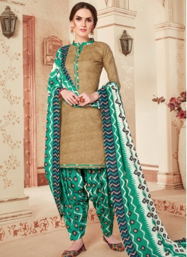 Cotton Brown and Sea Green Abstract Print Work Trendy Patiala Salwar Kameez