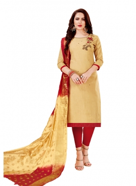Cotton Cream Churidar Designer Suit