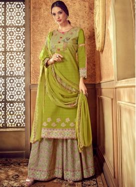 Cotton Designer Pakistani Suit in Olive