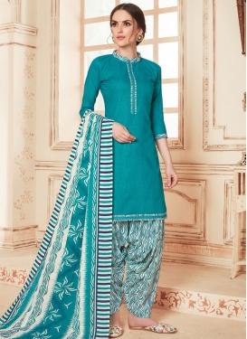 Cotton Designer Semi Patiala Suit