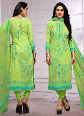 Cotton Digital Print Work Pakistani Straight Salwar Kameez