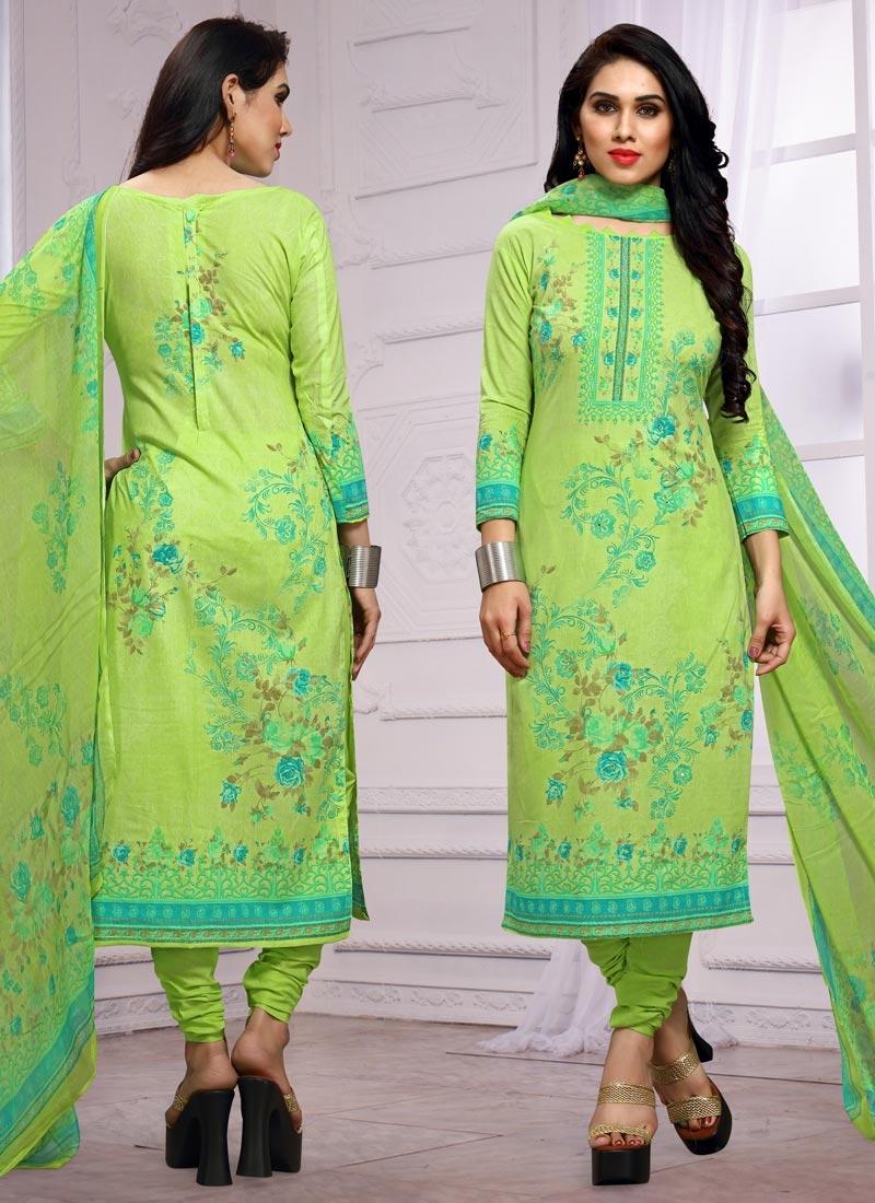 Cotton Digital Print Work Pakistani Straight Salwar Kameez