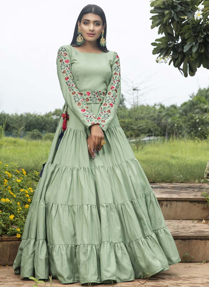 Cotton Embroidered Work Floor Length Gown