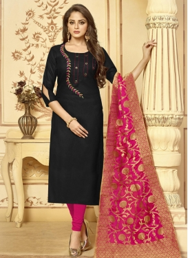 Cotton Embroidered Work Pakistani Straight Salwar Kameez